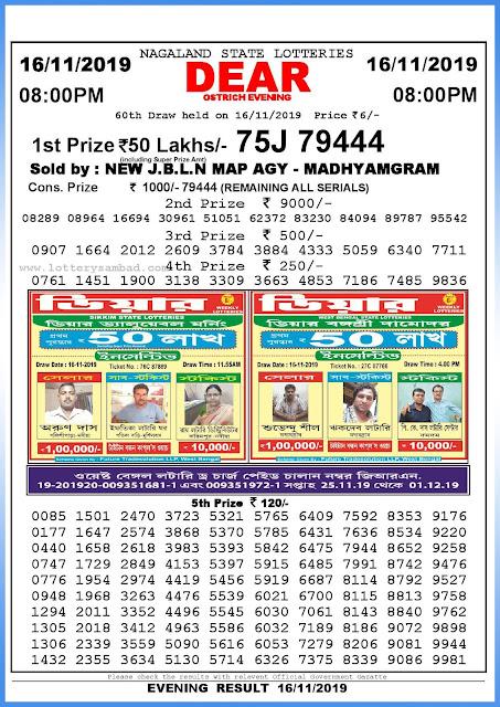 Lottery sambad 16-11-2019 Nagaland State Lottery Result 08.00 PM-sambadlottery.org