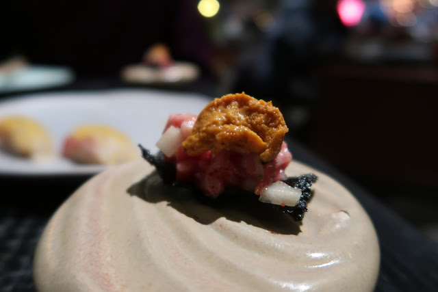 A5 waygu tartare and Asian pear, topped with uni on a crispy nori chip from San Francisco's Robin.