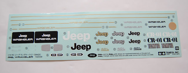 Tamiya Jeep Wrangler decal sheet