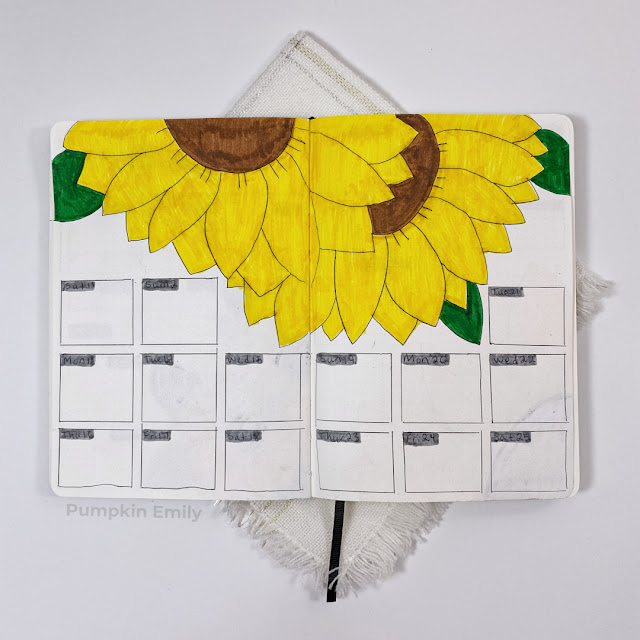September sunflower themed two page weekly spread