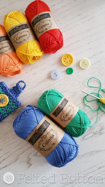 Scheepjes Catona yarn used for Free Crochet Eyeglass Case Pattern by Felted Button