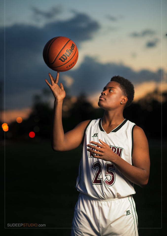 Skyline Basketball Sports Theme Senior Picture - Sudeep Studio Ann Arbor Senior Pictures Photographer