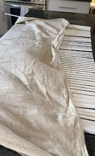making roman shade with blinds and a drop cloth