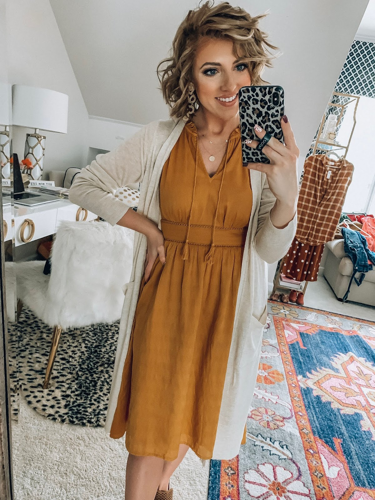 Old Navy Midi dress + Target Style Cardigan - Something Delightful Blog #affordablefashion
