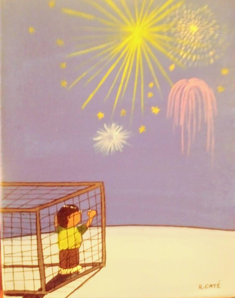 Child in cage watching Fourth of July fireworks in distance.