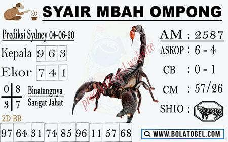 Prediksi Togel Sydney Kamis 04 Juni 2020 - Syair Mbah Ompong