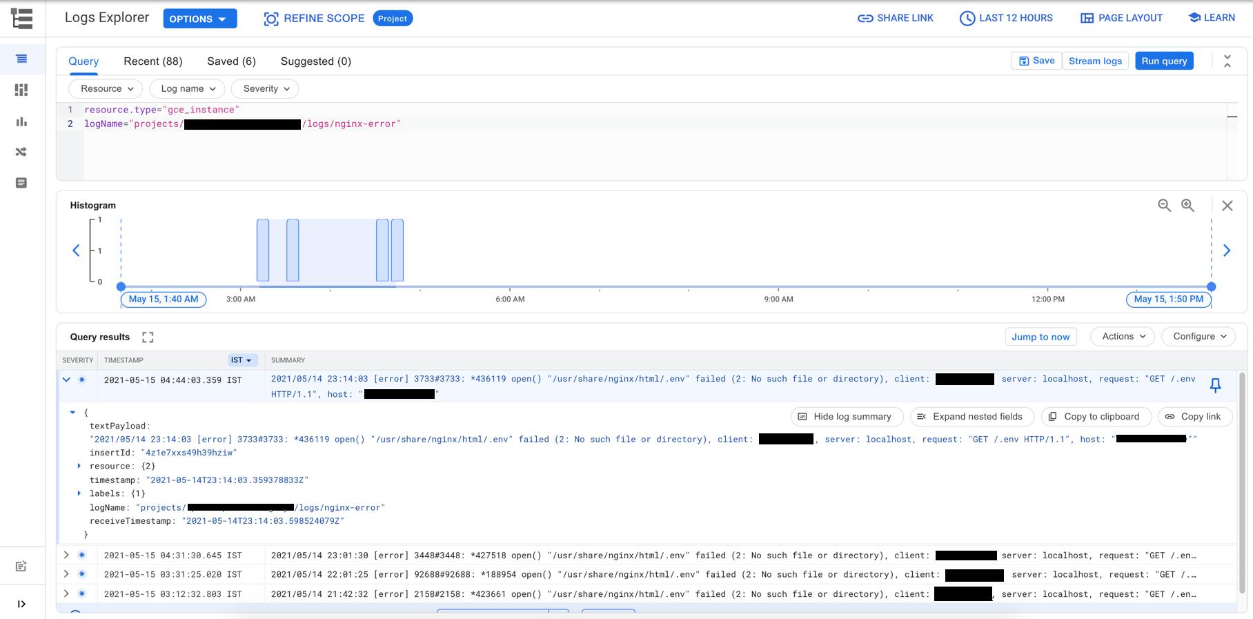 Viewing Nginx Logs in Google Cloud Log Explorer