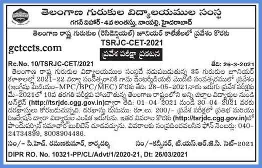 TSRJC notification 2021-2022 pdf, apply online for inter admissions