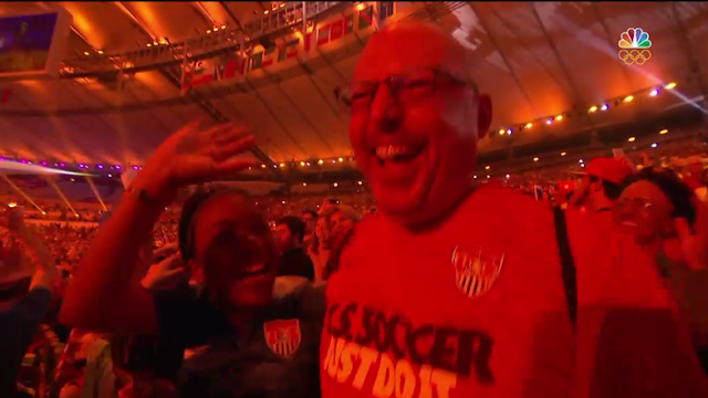 Audience dancing white bald guy soccer shirt Rio 2016 Olympics Opening Ceremony
