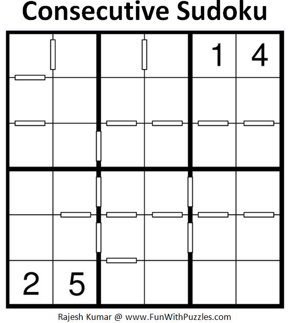 Consecutive Sudoku (Mini Sudoku Series #68)