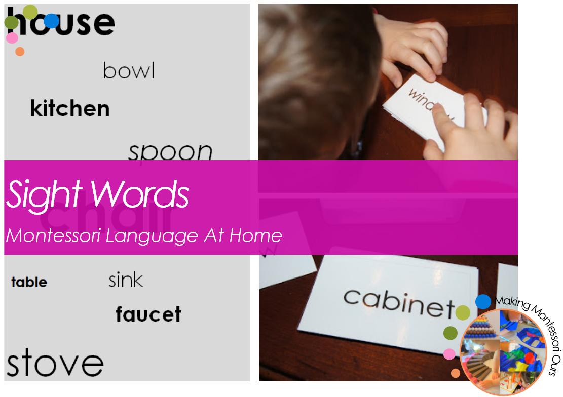 Sight Words Montessori Language At Home