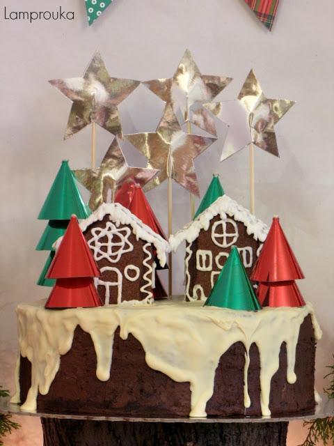Χριστουγεννιάτικη τούρτα σοκολάτας.