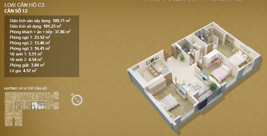 Căn hộ 12 tầng 34