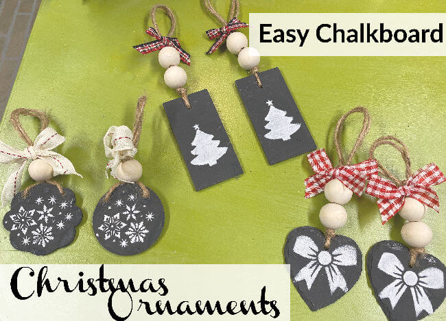 group of Christmas ornaments made with chalkboard