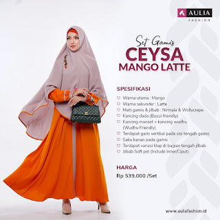 Koleksi Gamis Syari Muslimah Ceysa Mango Latte Set Syari by AULIA Fashion