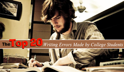college student studying.  Text: The Top 20 Writing Errors Made by College Students.