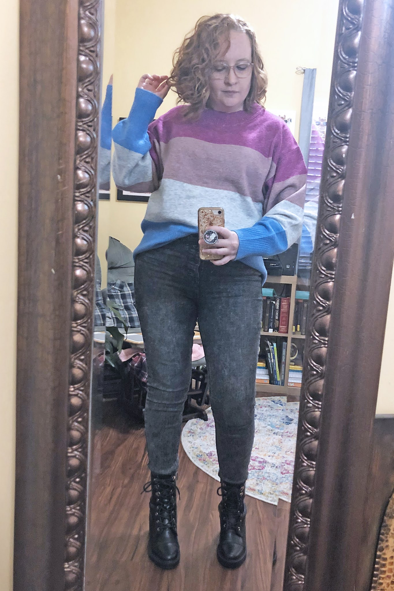 color block sweater button fly jeans
