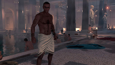 assassins creed origins - bayek in the bathhouse
