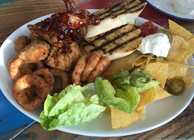 Sharing Starter with nachos, onion rings, garlic bread, chicken and dips