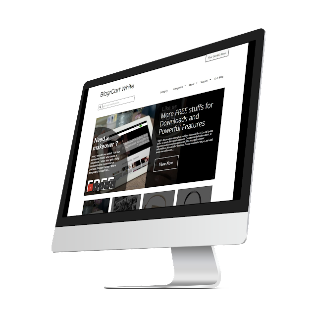 BlogrCart White responsive e-commerce Blogger template