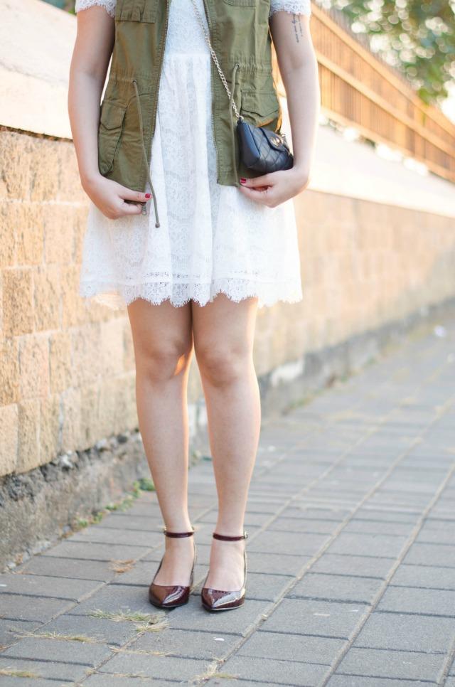 Vila white lace dress