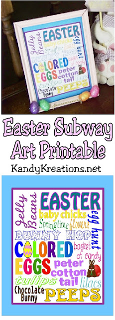 Decorate for Easter with this cute Easter Subway Art printable.  It's a quick and beautiful decoration to put on a Mantel or Easter table for a bit of bright color, springtime fun, and sweet smiles.