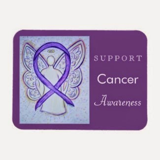 Cancer Awareness Ribbon Violet Angel Custom Rectangle Magnets