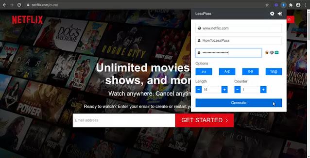Inicio de sesión de Lesspass Netflix