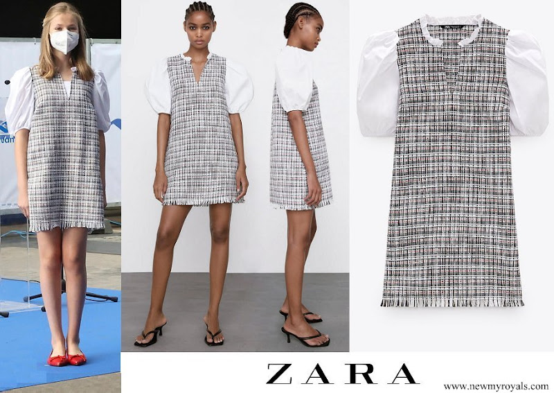 Crown Princess Leonor wore ZARA combined structured dress