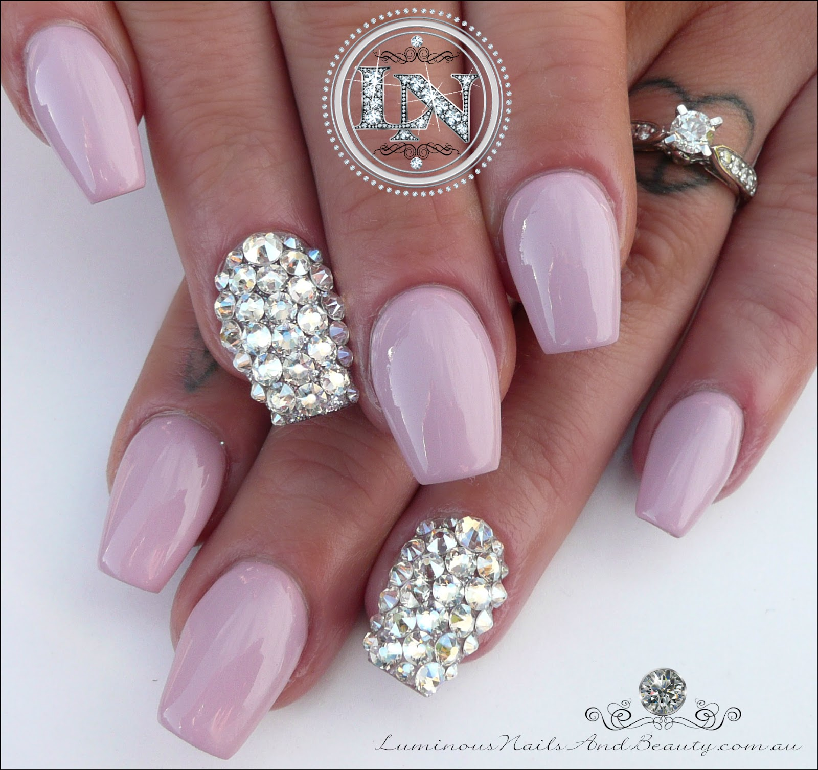 Pinky Mauve Bridal Wedding Nails Sculputred Acrylic With Lots Of Swarovski Bling