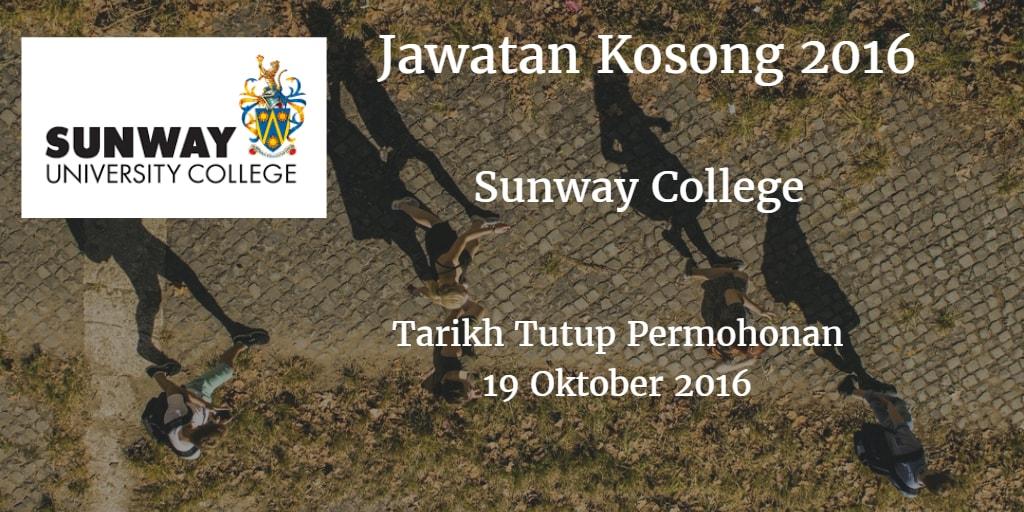 Jawatan Kosong Sunway College 19 Oktober 2016
