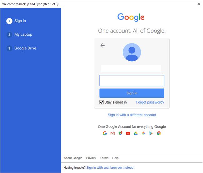 شاشة تسجيل دخول Google Drive على الكمبيوتر الشخصي