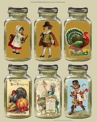 free thanksgiving printable rustic prim pilgrims turkeys gift tags decor