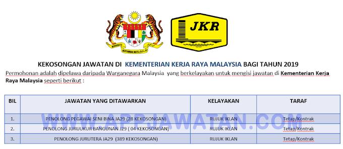Jawatan Kosong Terkini di Kementerian Kerja Raya Malaysia.