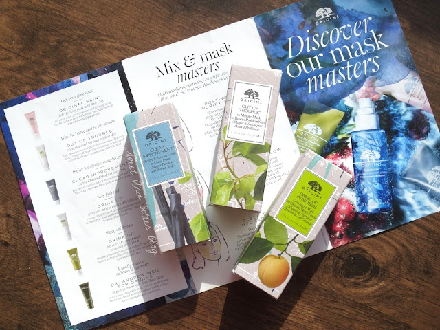 Origins Face Masks Clear Improvement, Out Of Trouble, and Drink Up