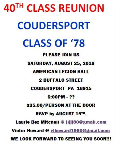8-25 Coudersport Class of '78 Reunion