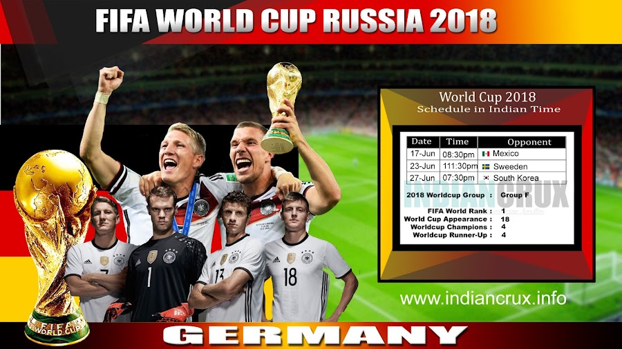 Germany National Team Schedule and Results at FIFA World Cup 2018