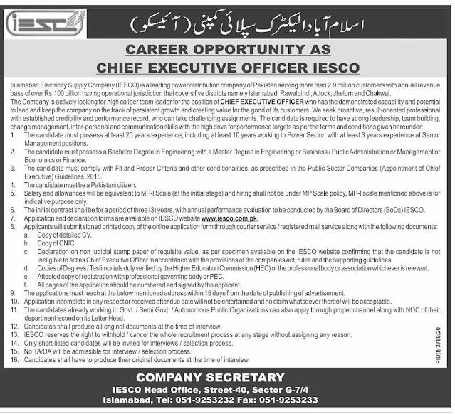 Islamabad Electric Supply Company Jobs 2021 - WAPDA Jobs 2021