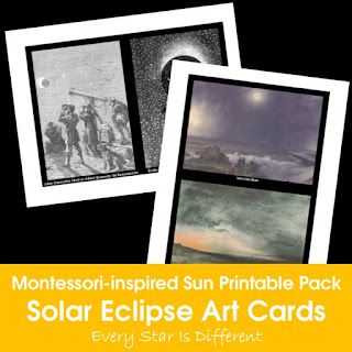 Montessori-inspired Sun Printable Pack: Solar Eclipse Art Cards