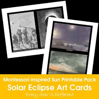 Montessori-inspired Sun Printable Pack: Solar Eclipse Art Cards