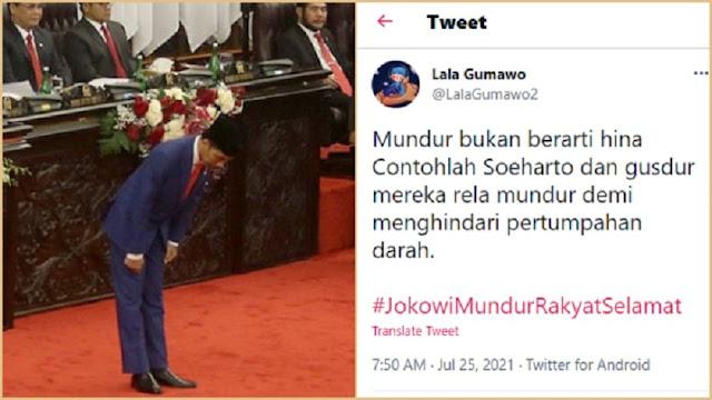 Trending #JokowiMundurRakyatSelamat, Netizen: Mundur Bukan Berarti Hina, Contohlah Soeharto & Gus Dur
