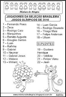 Jogos olímpicos e jogadores da seleção brasileira