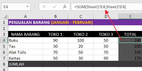Rumus Excel Penjumlahan Antar Sheet Dengan Fungsi SUM