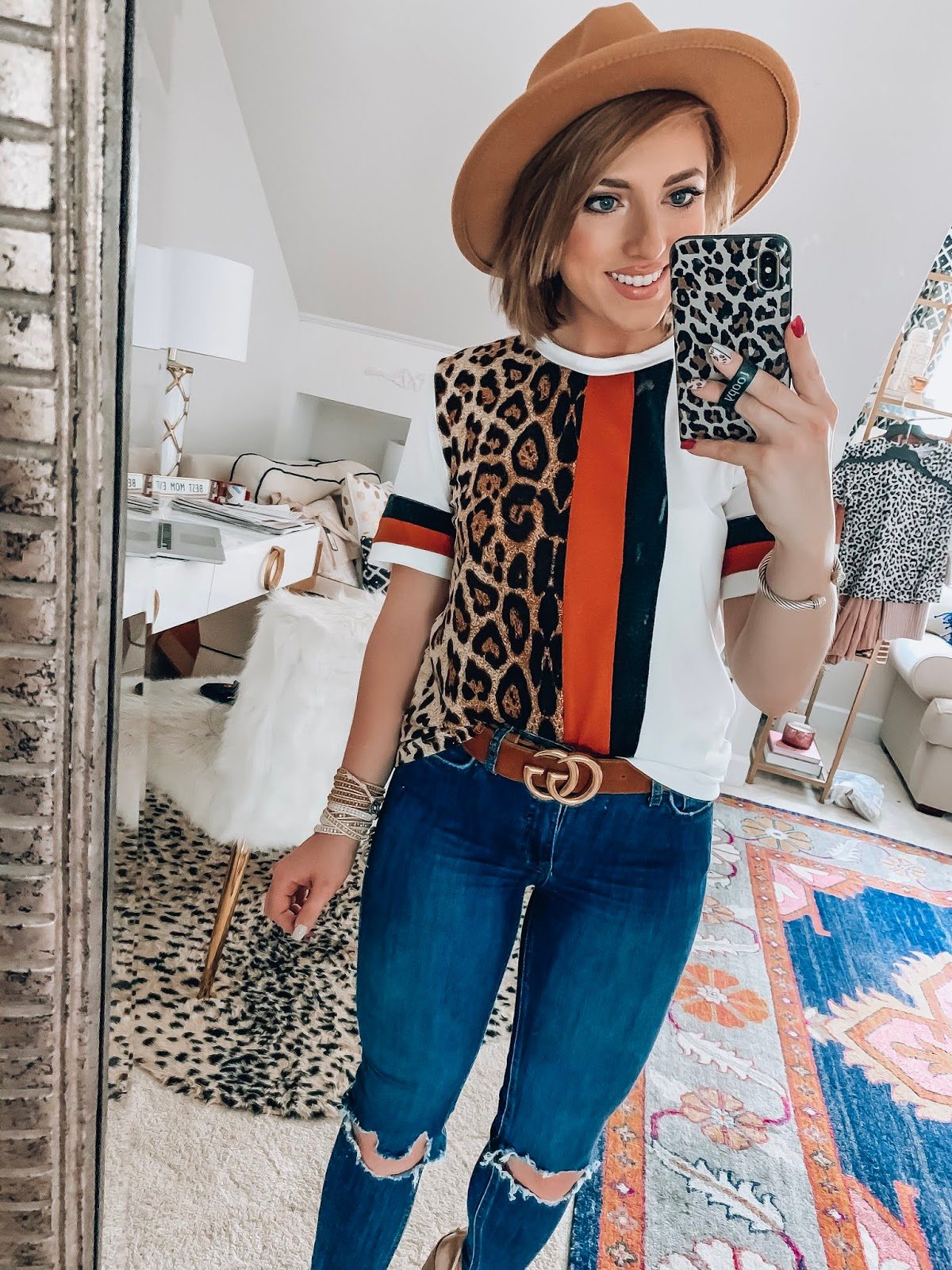 Recent Amazon Finds: $9.99 Leopard Stripe Tee - Something Delightful Blog #fallstyle #affordablefashion #amazonfashion