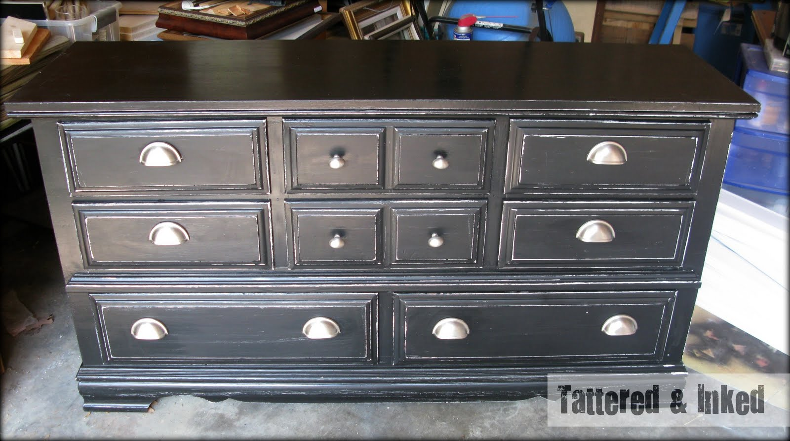 Tattered And Inked: Black & White Distressed Dresser