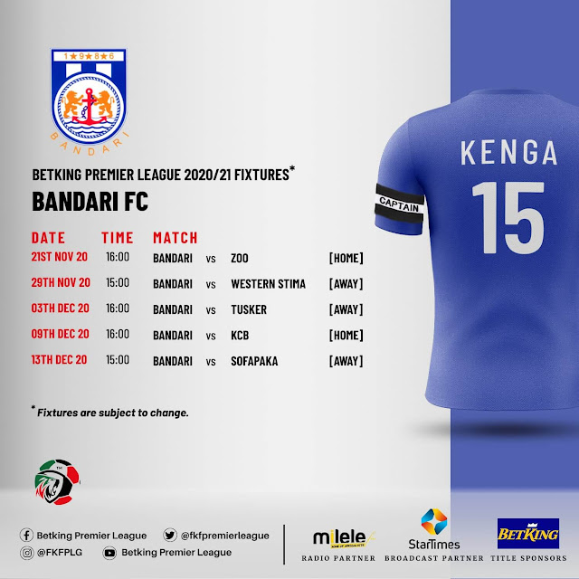 KPL alias Betking Premier league fixture 2020-2021 photo