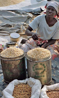 Selling bambara beans in West Africa