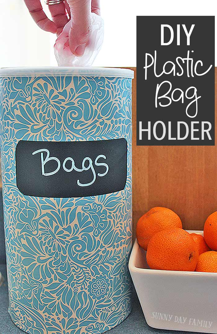 Easy DIY Plastic Bag Holder - upcycle a container you probably have at home into a cute plastic bag holder. Love this idea for organizing all those grocery bags!