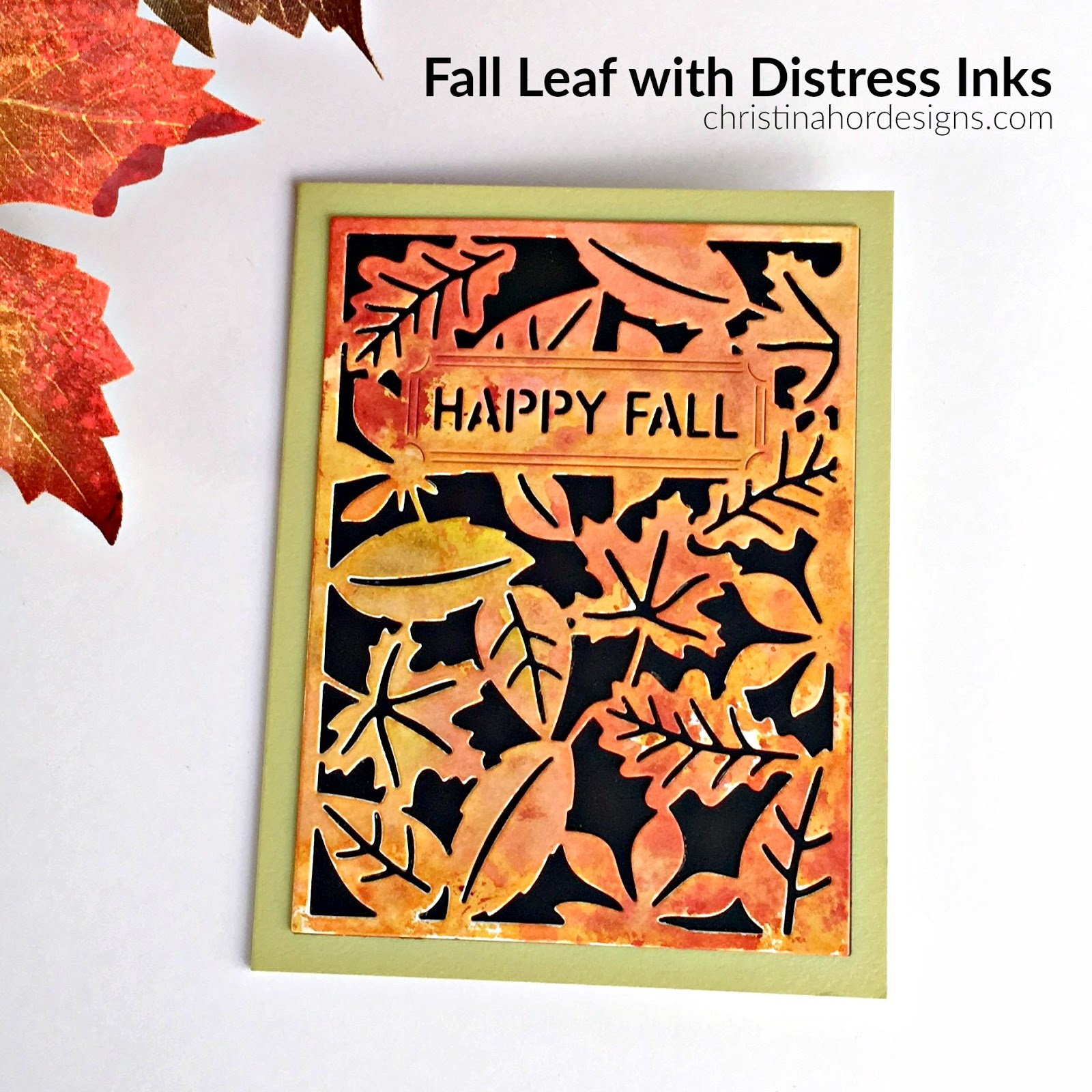 Fall Leaf with Distress Inks