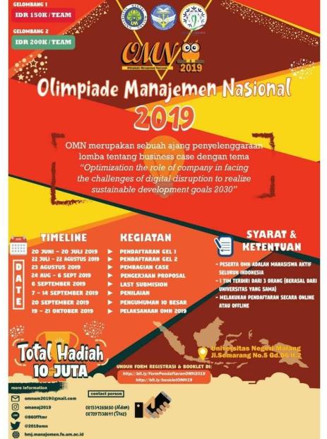 Olimpiade Manajemen Nasional 2019 di Universitas Negeri Malang
